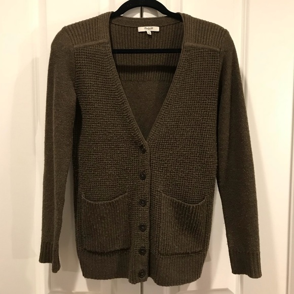 18b8859e84b Madewell Sweaters - Madewell Olive Green Waffle Knit ButtonUp Cardigan